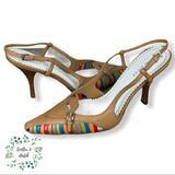 Nine West Shoes | Nine West Slingback Multi-Colored Heels | Color: Tan | Size: 7.5