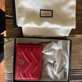 Gucci Bags | Gucci Gg Marmont Card Case Wallet With Chain | Color: Red | Size: Os