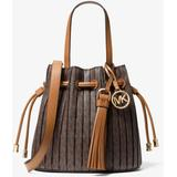 Willa Extra-small Pleated Logo Tote Bag - Brown - Michael Kors Totes