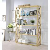 Everly Quinn Gold & Clear Glass Bookshelf Ambereen Bookshelf in Yellow, Size 72.0 H x 48.0 W x 14.0 D in   Wayfair C63E2B6BEEBF4839B30C594D1756CD97