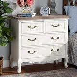 Ophelia & Co. Charpentier Antique French Country Cottage Two-Tone White & Oak Finished 4-Drawer Accent Storage Cabinet Wood in Brown/White   Wayfair