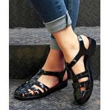 ROSY Women's Sandals Black - Black Strappy Closed-Toe Jelly Sandal - Women
