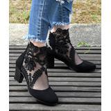 ROSY Women's Pumps Black - Black Lace Mesh Ankle Boot - Women