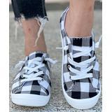 BUTITI Women's Sneakers BLACK - Black & White Buffalo Check Sneaker - Women