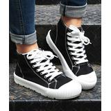 ROSY Women's Sneakers Black - Black Canvas Hi-Top Sneaker - Women