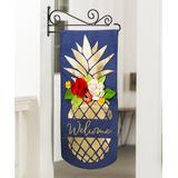 Evergreen Garden Flags - Blue & Gold 'Welcome' Pineapple Textile Decor