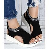 YASIRUN Women's Sandals Black - Black Stripe-Accent Wedge Platform Sandal - Women