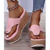 YASIRUN Women's Sandals Pink - Pink Buckle-Accent Thong-Strap Platform Sandal - Women