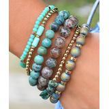 Don't AsK Women's Bracelets Green - Green & Goldtone Beaded Bracelet Set