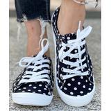 BUTITI Women's Sneakers BLACK - Black & White Polka Dot Low-Top Sneaker - Women