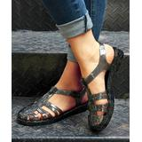 ROSY Women's Sandals Shinyblack - Shiny Black Strappy Closed-Toe Jelly Sandal - Women