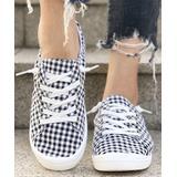 BUTITI Women's Sneakers BLACK - Black & White Gingham Sneaker - Women