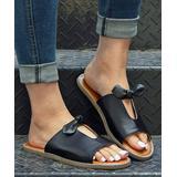 ROSY Women's Sandals Black - Black Bow Cutout Slide - Women