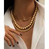 Street Region Women's Necklaces Gold - Goldtone Bead & Snake Chain Necklace Set