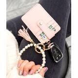 Aili's Corner Women's Key Chains Blush - Imitation Pearl & Goldtone Key Ring Bracelet & Wallet