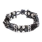 Beaded wristband bracelet, 'Flower Harmony in Black'