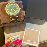 Michael Kors Jewelry | Michael Kors Green Dial Gold Tone Stainless Watch | Color: Gold/Green | Size: Os