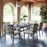 Martha Stewart Ashton 7-piece Outdoor Dining All-weather Resistant Set Brushed Dark Gray Metal in Brown/Gray, Size 28.7 H x 72.99 W x 39.29 D in