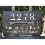 """Sassy Squirrel Ink Sassy Squirrel Beautifully Handcrafted & Customizable Slate Home Address Plaque (12""""x8"""" or 16""""x10"""") Personalized House Sign w/"""