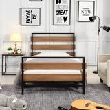 17 Stories Double Platform Bed Frame w/ Wooden Headboard & Metal Slats,Twin Size,Black Metal in Black/Brown, Size 39.4 H x 17.1 W x 39.4 D in