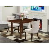 George Oliver Briannia Drop Leaf Rubberwood Solid Wood Dining Set Wood/Upholstered Chairs in Brown, Size 30.0 H in | Wayfair
