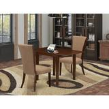 George Oliver Brianni Drop Leaf Rubberwood Solid Wood Dining Set Wood/Upholstered Chairs in Brown, Size 30.0 H in | Wayfair