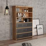 17 Stories Standard Bookcase, Industrial Style Bookcase, Office Etagere Book Shelf Storage Shelves Wood in Brown, Size 59.4 H x 38.0 W x 13.8 D in