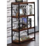 17 Stories 4-Shelf Vintage Industrial Style Bookcase, Open Wide Office Etagere Book Shelf Storage Shelves in Black/Brown | Wayfair
