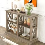 Rosalind Wheeler Console Table w/ Three-Tier Open Storage Shelves Wood in White, Size 31.7 H x 46.5 W x 13.2 D in   Wayfair
