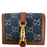 Gucci Bags | Gucci Dark Blue Jackie Gg Jacquard Denim Card Case | Color: Blue | Size: Os