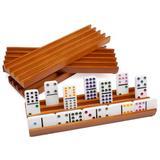 GSE Games & Sports Expert Wooden Domino Racks Trays Holders OrganizerSet Of 4 - Premium Domino Tiles Holder Racks For Mexican Train Dominoes Games