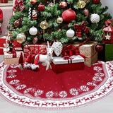ROPALIA 48Inch Traditional Christmas Tree Skirt,Snowflake Reindeer Knitted Festival Decor For Indoor Outdoor Burlap/Jute in Red | Wayfair