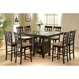 Red Barrel Studio® Clanton 9-piece Square Dining Set Cappuccino Wood/Upholstered Chairs in Brown, Size 37.75 H in | Wayfair
