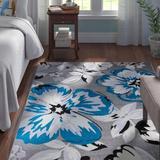 Andover Mills™ Ericson Moroccan Blue/Grey Area Rug Polypropylene in Gray, Size 60.0 H x 37.0 W x 0.31 D in   Wayfair