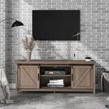 Gracie Oaks Farmhouse Modern TV Stand Entertainment Center For Tvs Up To 65 Inches w/ 2 Sliding Doors (Antique Gray) Wood in Black/Brown | Wayfair