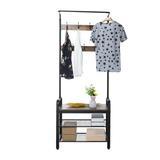 17 Stories Vintage Coat Rack Shoe Bench Tree Entryway 3-Tier Storage Shelf Clothing Rack in Black, Size 72.1 H x 28.3 W x 13.4 D in | Wayfair