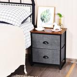 Ebern Designs 2-drawer Nightstands Organizer End Table Storage Unit Bedroom Wood/Metal in Gray/Black, Size 20.5 H x 18.0 W x 12.0 D in | Wayfair