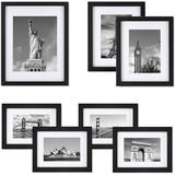 Latitude Run® Picture Frame Set Of 7, Multi Pack Black Wood Frames w/ Tempered Glass, Gallery Wall Kit For Wall Or Tabletop Display One 11X14