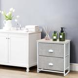 Ebern Designs 2-drawer Nightstands Organizer End Table Storage Unit Bedroom Wood/Metal in Gray/White, Size 20.5 H x 18.0 W x 12.0 D in | Wayfair