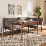 Latitude Run® Mid-Century Modern Gray Fabric Upholstered 3-Piece Wood Dining Nook Set in Brown, Size 0.0 H in | Wayfair