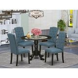 Winston Porter Ashville 5 - Piece Drop Leaf Rubberwood Solid Wood Dining Set Wood/Upholstered Chairs in Black, Size 29.5 H in | Wayfair