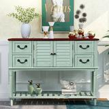 Longshore Tides Hutto Console Table Sideboard For Entryway Sofa Table w/ Shutter Doors & 4 Storage Drawers (Antique Blue) Wood in Orange/Blue