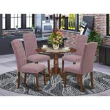 Winston Porter Ashville 5 - Piece Drop Leaf Rubberwood Solid Wood Dining Set Wood/Upholstered Chairs in Brown, Size 29.5 H in | Wayfair