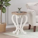 One Allium Way® TrayTop Trestle End Table Wood in White, Size 25.5 H x 19.75 W x 19.75 D in | Wayfair 9D97B6412959468E952D695F666183AF