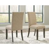 Gracie Oaks Chapdelaine Side Chair in Tan Wood/Upholstered/Fabric in Brown/Green, Size 39.5 H x 18.5 W x 21.5 D in   Wayfair