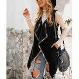 Gaovot Women's Outerwear Vests black - Black Sherpa Shawl Collar Open Vest - Women