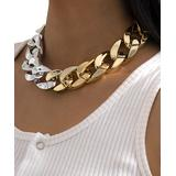 Street Region Women's Chokers Two - Two-Tone Curb Chain Choker Necklace