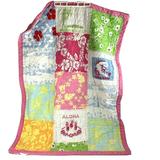 Pottery Barn Kids Baby Girl Pink Beach HI Patch Quilt Blanket Bedding Crib