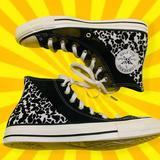 Converse Shoes | Converse Suede Leopard Print Hi Top Women'S Shoes | Color: Black/White | Size: 7