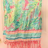Lilly Pulitzer Accessories | Euc Lilly Pulitzer Scarf W Pink Fringe (S35) | Color: Green/Yellow | Size: Os